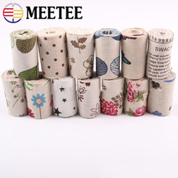 $enCountryForm.capitalKeyWord NZ - Meetee 2Meters 6.5cm Flower Printed Burlap Webbing Ribbon Cotton Printed Christmas Present Wedding Festive Party Decor Accessories