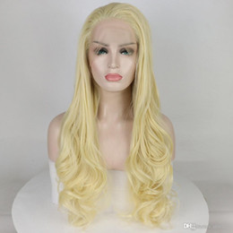 $enCountryForm.capitalKeyWord Australia - Platinum Blonde Synthetic Lace Front Wig Long Natural Wavy Glueless Synthetic Fiber Hair lacefront Wigs For White Women