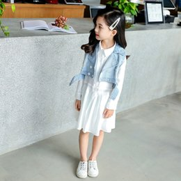 $enCountryForm.capitalKeyWord Australia - Baby Girl Designer Clothes Two-piece Set Autumn New Style Kids Designer Clothes Girls Cowboy Vest White Shirt Dress Blue Coat
