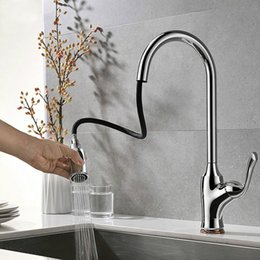 Brass Handles Pulls Australia - Chrome Plated Brass Kitchen Faucet Sprayer Pull Out 360 Swivel Single Handle Tap Kitchen Sink Cold And Hot Water Mixer