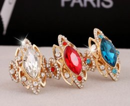 Tibet Ring Women Australia - European American women jewelry hollow crystals ring party wedding engagement birthday Christmas festival gift