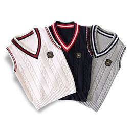 $enCountryForm.capitalKeyWord Australia - Spring autumn 100% cotton cardigan teen boy's V-neck sweater vest kids waistcoat School girls winter sweaters for 4-14 Years