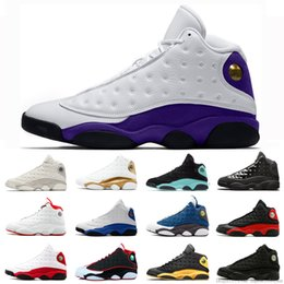 name sneakers Australia - Designer Court Purple Men Baksetball Shoes 13 13s Hyper Royal He Got Name Flint Chicago Cap And Gown Black Cat Trainer Sneakers