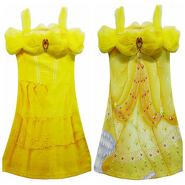 Wholesale Beauty Dress Australia - Yellow Party Flower Girl Dresses Tulle Tutu Dress Belle Princess Costume Halloween Beauty and the Beast Cosplay Dress For Kids