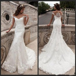 $enCountryForm.capitalKeyWord Australia - Vintage Mermaid Wedding Dress Full Length Scoop Neck Bridal Gown Sexy Cap Sleeve 2019 Bridal Wedding Gown Sweep Train