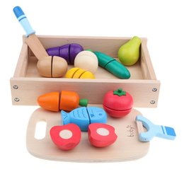 Discount role playing games - 14pcs Wooden Simulation Sticky Fruits Vegetables Play Food Kitchen Toys Kids Children Pretend Role Play Game Birthday Gi