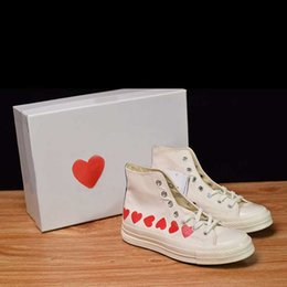 Womens Canvas Shoes Australia - (Without Box)2019 New Canvas Shoe Red Heart White Red Fashion Design High-Top Mens Womens Casual Shoes Size 35-44