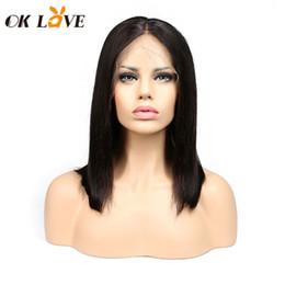 $enCountryForm.capitalKeyWord Australia - OKLove Brazilian Straight Short Bobo Wigs 8-18 Inch Lace Front Wigs Pre-plucked With Baby Hair For Women