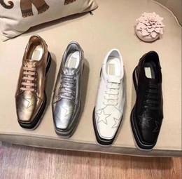 $enCountryForm.capitalKeyWord Australia - NEW Stella Mccartney Womens Calfskin Genuine Leather Platform Casual Shoes Cut-outs Star Oxfords Stripes Wedge Elyse Lace-up Sneaker