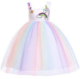 $enCountryForm.capitalKeyWord UK - Girls sequins stars rainbow unicorn embroidery dress kids colorful lace tulle dress children pageant dress girl lace princess dresses F3932
