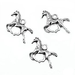 Running Charms Wholesale Australia - 150pcs Running Horse Charms Running Horse Pendants Horse Charms Antique Silver Plated For Jewelry Making Accessories 13x18mm
