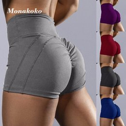 sport gray NZ - Summer Sexy Sport Shorts Women Gray Elastic High Waist Tummy Control Gym Fitness Shorts 2020 Dry Fit Scrunch Yoga Booties