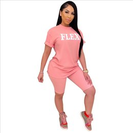 Discount best quality t shirt printing Best Quality Fashion Design Two Pieces Women Set Letters O-neck T shirt And Shorts Summer Sports Suits