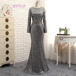 cowl neck long evening dresses 2021 - Hvvlf Gray Evening Dresses 2019 Mermaid Long Sleeves Sequiens Crystals Sparkle Long Evening Gown Prom Dress Prom Gown Y1