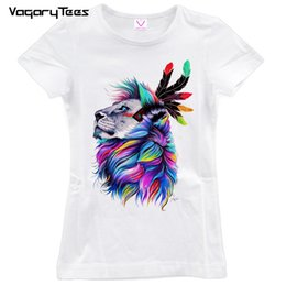 Grils Shirts Australia - Women's Tee 2019 Summer Short Sleeve Womens Animal T Shirt Grils Clothes Colorful Lion Mighty Painting Tops&tees