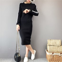 Suits Two Slits NZ - Two piece set of skirt suit for autumn 2018, women's knitted patchwork top, slit skirt, hip dress, leisure suit 0090 pearl diary