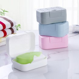 Plastic Pink Containers Australia - Portable Soap Dishes Soap Container Bathroom Accessories Travel Home Plastic Soap Box With Cover
