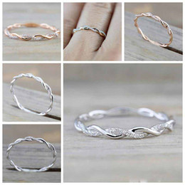 Stack Rings Wholesale Australia - designer luxury Wedding Rings jewelry New Style Round diamond Rings For Women Thin Rose Gold Color Twist Rope Stacking in Stainless Steel