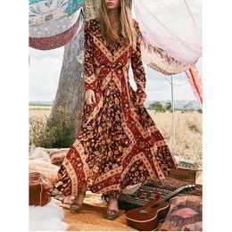 $enCountryForm.capitalKeyWord NZ - Women Plus Size Dress Sexy Vintage Bohemia Long Sleeve Button V-Neck Long Fork dresses woman party night robe femme Dropshipping