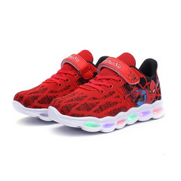 kids led flash shoes NZ - 2020 Kids Spider-Man Light-up Shoes Breathable Soft Bottom Flash Sneakers Led Lights Lighting Sports Outdoors Shoes Girls Boys