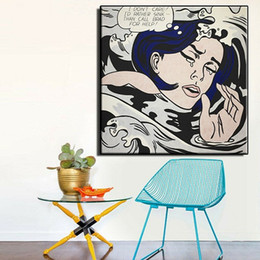 highest quality digital prints NZ - Drowning Girl by Roy Lichtenstein High Quality HandPainted &HD Print Portrait Wall Art Oil Painting On Canvas Home Decor Multi size R7