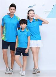 $enCountryForm.capitalKeyWord Australia - LI NING 7301 Quick-drying Breathable Badminton Suit Short Sleeve T-shirt shorts Running Basketball wear Men&Women&Kids blue
