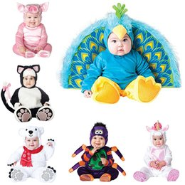 Peacock Lights Australia - 2018 New Design Boys Christmas Halloween Costumes Infant Baby Girls Rompers Jumpsuits Peacock Animal Cosplay Toddlers Clothes J190524
