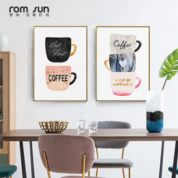 Coffee Cup Cafe online shopping - Nordic Coffee Cup Cream Afternoon Canvas Painting Cute Poster Print Wall Art Pictures For Living Room Dining Room Cafe Decor