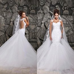 $enCountryForm.capitalKeyWord Australia - Hot Sale Berta Puffy Tulle Skirt Mermaid Wedding Dresses 2020 Applique Lace Real Images Bridal Gowns Cheap Backless See Sheer Wedding Dress