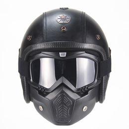 $enCountryForm.capitalKeyWord Australia - PU Leather Harley vintage Helmets 3 4 half Motorcycle Chopper Bike helmet open face motorcycle helmet with goggle mask