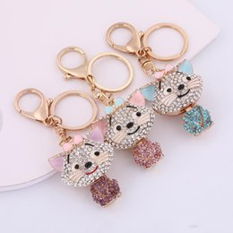 Wholesale Newest Retail Hotselling New Design Colorful Crystal Charm Cartoon Custom Keychain Cat For Girl Gift