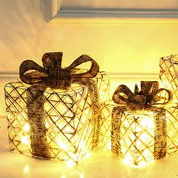 $enCountryForm.capitalKeyWord Australia - 3pcs Set Christmas LED Wrought Iron Decoration Gift Box Light Up LED Christmas Parcels Gift Box Christmas Decorations
