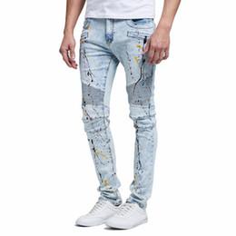 Hiphop Mens Designer Blue Washed Blue Draped Distressed Long 19FW Street Jean Pantalon en Solde