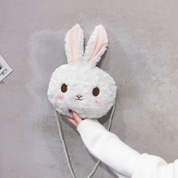 chain strap messenger bag Canada - Cartoon Bunny Baby plush backpack with pearls shoulder strap Cute litter rabbit doll Animal backpack plush toys girls bags gifts