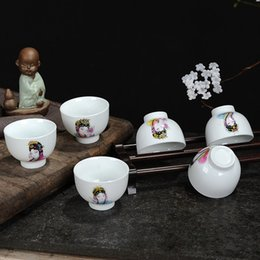 Chinese Porcelain Painting Australia - Gift Set of 6 Pieces Traditional Chinese Porcelain Tea Cups Hand Painted Chinese Opera Qsing Yi Image and New Couple Pattern