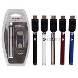 China Blister Pack 350VV Preheat Battery 350mAh Bottom Twist Cartridge Kit Vape Pen Variable Voltage Ego Spinner Battery with USB Charger cheap vape battery twist suppliers