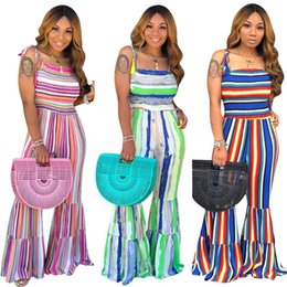 $enCountryForm.capitalKeyWord Australia - Women striped print Jumpsuits Rompers plus size bodysuits designer summer clothing sleeveless one piece overalls casual flared pants 874