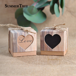 $enCountryForm.capitalKeyWord Australia - 100pcs Romantic Lover Black Heart Window Candy Box Wedding Decoration Vintage Kraft Favors Gift Boxes With Burlap Twine Chic T8190629