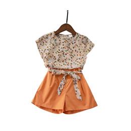 $enCountryForm.capitalKeyWord NZ - Summer Chiffon Print Teenager 2 Pcs Set Floral T-shirt Loose Short Pants Sets 4 - 14 Yrs Big Girls Bohemian Style Beach Clothes J190712