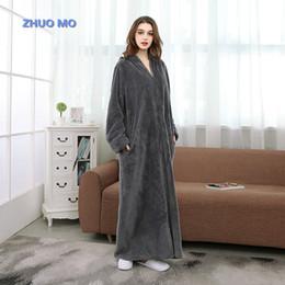 Women Zipper Robe Bath Towel Bathrobe Girl s Pajamas Body Spa Towel Super  Absorbent Bath Gown Winter Thick Blue 9a44f3988