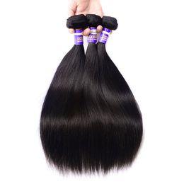 Grade Brazilian Hair Bulk UK - Brazilian Hair Straight Bundles Virgin Hair Human Hair 3 Pieces Bundles 8-30inch Natural Color Malaysian Peruvian Indian Cambodia 10a Grade