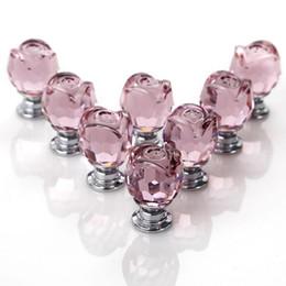 $enCountryForm.capitalKeyWord Australia - New 8 Pcs Set Pink Rose Crystal Glass Door Knobs Kitchen Cabinet Drawer Handle 22MM with 8 x 20mm Door Handles and x Screws
