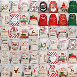 kids sack UK - 2020 New Christmas Gift Bags Large Organic Heavy Canvas Bag Santa Sack Drawstring Bag With Reindeers Santa Claus Sack Bags for kids gifts