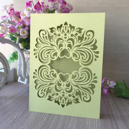 $enCountryForm.capitalKeyWord NZ - 50PCS  lot Hollow Laser Cut Sweet Wedding Invitation Cards Traditional Style Modern Marriage Ceremony Invitations Supplies
