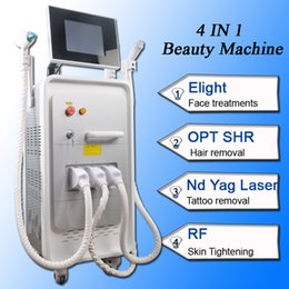faster tattoo Canada - 4 in 1 multifunction machine shr e-light ipl fast hair removal nd yag laser tattoo removal equipment