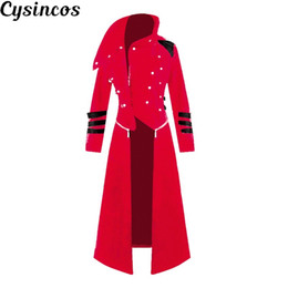 black fashion uniforms NZ - CYSINCOS Adult Men Costume Black Tuxedo Fashion Tailcoat Gothic Steampunk Trench Coat Frock Outfit Overcoat Uniform For Men