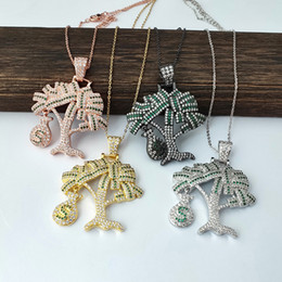 cz chains Australia - Fashion rainbow cz paved money tree pendant charms with link chain Necklaces jewelry NK449