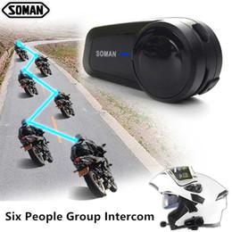 SOMAN Bluetooth Helmet Headset Six People Intercom Motorcycle Helmet Bluetooth Full Duplex Helmets Speaker Motor Headset M2 on Sale