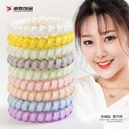 Wholesale 27 colors cm High Quality Telephone Wire Cord Gum Hair Tie Girls Elastic Hair Band Ring Rope Candy Color Bracelet Stretchy Scrunchy lol