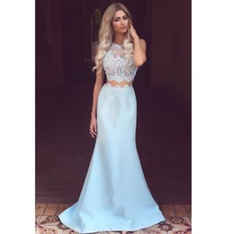Wholesale 2019 New Illusion Elegant Sleeveless Two Piece Mermaid Formal Prom Dress With Lace Custom Made Hot Sale